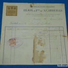 Facturas antiguas: (M2) FACTURA JOYERIA PLATERIA RELOJERIA HIJOS DE FCO DE A CARRERAS, BARCELONA 1919. Lote 194767193