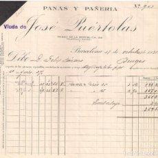 Facturas antiguas: ANTIGUA FACTURA TEXTIL. PANAS Y PAÑERIA. VIUDA JOSÉ PUERTOLAS. BARCELONA . AÑO 1935. Lote 195134465