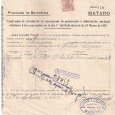 Facturas antiguas: ANTIGUA FACTURA TEXTIL. JUAN LLAUDÓ TRESFÍ. MATARO ( BARCELONA) AÑO 1924. Lote 195136808