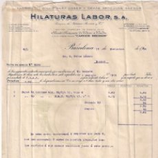 Facturas antiguas: ANTIGUA FACTURA TEXTIL. HILATURAS LABOR S.A.BARCELONA AÑO 1924. Lote 195137120
