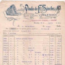 Facturas antiguas: ANTIGUA FACTURA TEXTIL. VIUDA DE F. SÁNCHEZ. PELETERÍA. BARCELONA AÑO 1924. Lote 195137400