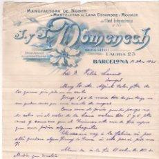 Facturas antiguas: ANTIGUA FACTURA. MANUFACTURA DE NUBES Y MANTELES DE LANA ESTAMBRE. DOMENECH. BARCELONA AÑO 1925. Lote 195137795