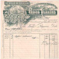 Facturas antiguas: ANTIGUA FACTURA TEXTIL. LA VILLA DE CALELLA. PEDRO CLARENS. BARCELONA .AÑO 1925. Lote 195138433