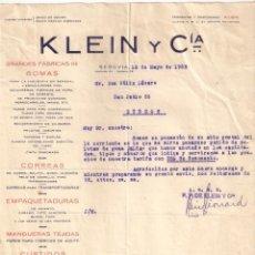 Facturas antiguas: ANTIGUA FACTURA.KLEIN Y CIA. CORREAS EMPAQUETADURAS, DE SEGOVIA A BURGOS. AÑO 1935. Lote 195138850
