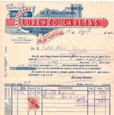 Facturas antiguas: FACTURA FABRICA DE CHOCOLATES LA CEPEDANA LORENZO CABEZAS. ASTORGA LEON 1945. Lote 195144377
