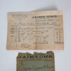 Facturas antiguas: ANTIGUA FACTURA - FONDA LA CATALANA, VILASAR DE MAR - UN MES, MANUTENCIÓN Y COMIDAS - AÑO 1926. Lote 195157881