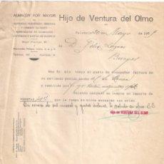 Facturas antiguas: ANTIGUA FACTURA TEXTIL. ALMACÉN AL POR MAYOR .HIJO DE VENTURA DEL OLMO. PALENCIA A BURGOS AÑO 1930. Lote 195189631