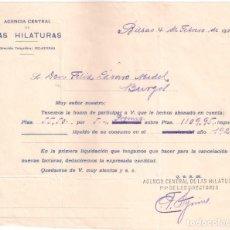 Facturas antiguas: ANTIGUA FACTURA. AGENCIA CENTRAL DE LAS HILATURAS. DE BILBAO A BURGOS.AÑO 1926. Lote 195199007