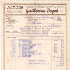Facturas antiguas: ANTIGUA FACTURA. ALMACENES ALEMANES .GUILLERMO PEYCÓ. BILBAO AÑO 1935. Lote 195199336
