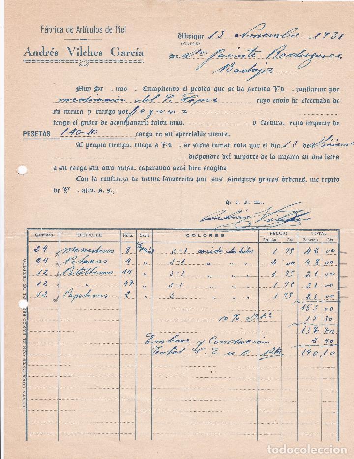 FACTURA. ANDRÉS VILCHES GARCÍA. FÁBRICA DE ARTÍCULOS DE PIEL. UBRIQUE 1931 (Coleccionismo - Documentos - Facturas Antiguas)