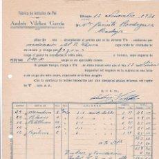 Factures anciennes: FACTURA. ANDRÉS VILCHES GARCÍA. FÁBRICA DE ARTÍCULOS DE PIEL. UBRIQUE 1931. Lote 195245956