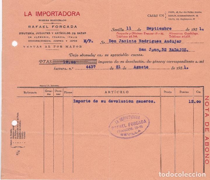 FACTURA. RAFAEL FORCADA. LA IMPORTADORA. BISUTERÍA-JUGUETES Y ARTÍCULOS BAZAR. SEVILLA 1931 (Coleccionismo - Documentos - Facturas Antiguas)