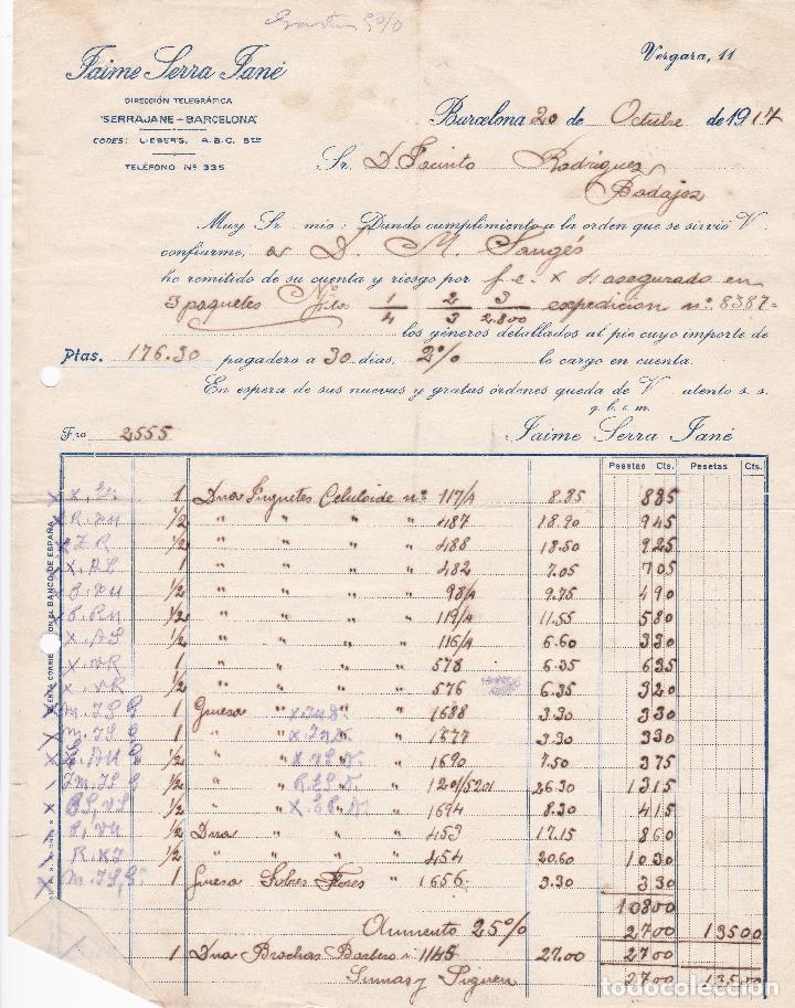 FACTURA. JAIME SERRA JANÉ. BARCELONA 1917 (Coleccionismo - Documentos - Facturas Antiguas)
