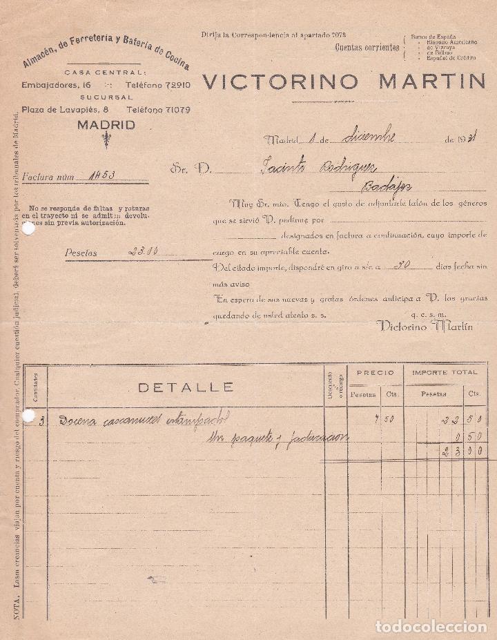 FACTURA. VICTORINO MARTÍN. ALMACÉN DE FERRETERÍA Y BATERÍA DE COCINA. MADRID 1931 (Coleccionismo - Documentos - Facturas Antiguas)