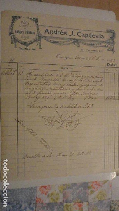 ANTIGUA FACTURA.ANDRES J.CAPDEVILA.AGENCIA POMPAS FUNEBRES.TARRAGONA 1923. (Coleccionismo - Documentos - Facturas Antiguas)