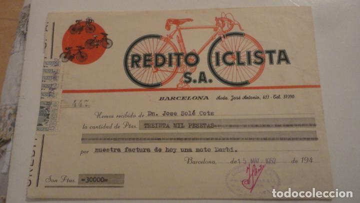 ANTIGUO RECIBO DE PAGO.CREDITO CICLISTA S.A.MOTO DERBI.BARCELONA 1952. JOSE SOLE COTS. (Coleccionismo - Documentos - Facturas Antiguas)