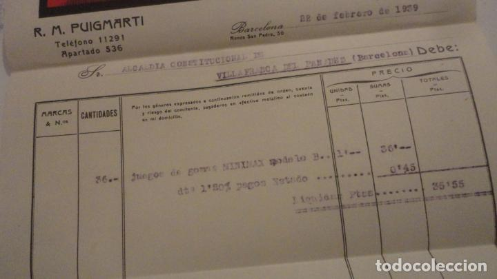 Facturas antiguas: ANTIGUA FACTURA.MINIMAX CENTRAL ESPAÑOLA.R.M.PUIGMARTI. BARCELONA 1939 - Foto 3 - 195267218