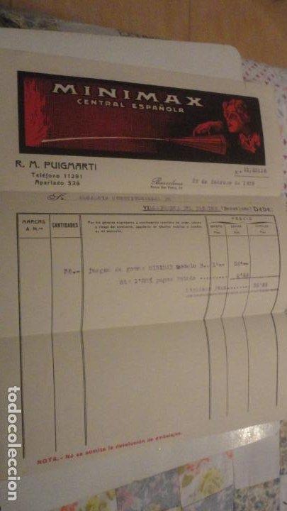 ANTIGUA FACTURA.MINIMAX CENTRAL ESPAÑOLA.R.M.PUIGMARTI. BARCELONA 1939 (Coleccionismo - Documentos - Facturas Antiguas)