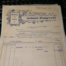 Facturas antiguas: ARTICULOS PUIGVERT. TORNERIA. TORELLO. 1934. Lote 195334712