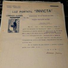 Facturas antiguas: LUZ PORTATIL. INVICTA. LORENZO JUANES. 1924. Lote 195334798