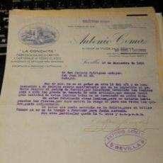 Facturas antiguas: ANTONIO COMAS. CAJAS DE CARTON. SEVILLA 1936. Lote 195334888
