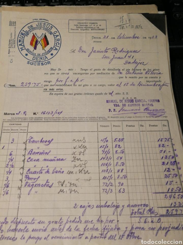 MANUEL DE JESUS GARCÍA. FABRICA DE JUGUETES. DENIA. 1933 (Coleccionismo - Documentos - Facturas Antiguas)