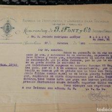 Facturas antiguas: J. FONT Y CIA. PERFUMES Y JABONES. 1920. Lote 195335270