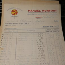Facturas antiguas: MANUEL MONFORT. CELULOSA. GODELLA. VALENCIA 1922. Lote 195335390