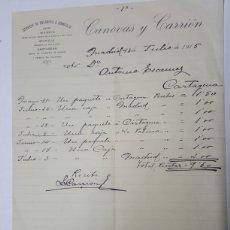 Facturas antiguas: FACTURA ENCARGOS A DOMICILIO CANOVAS Y CARRION CARTAGENA AÑO 1915 DE 28X21 CM. Lote 195336658