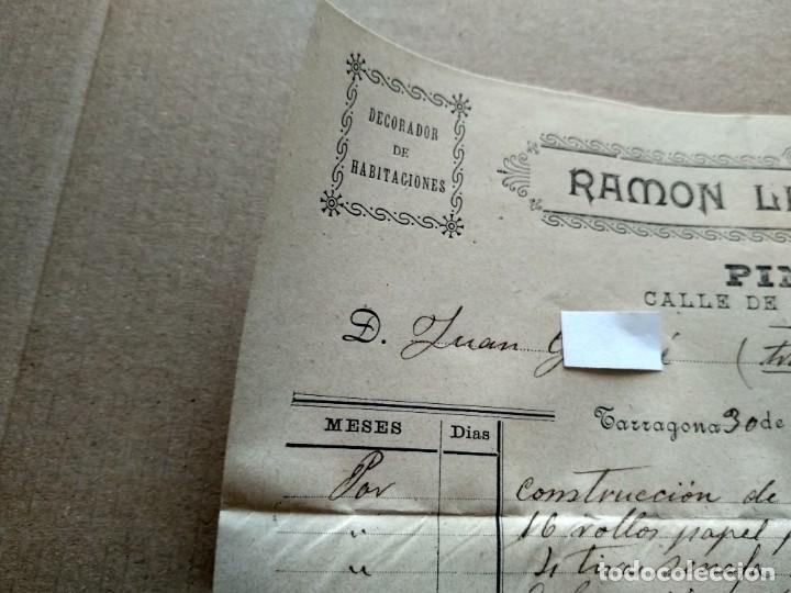 Facturas antiguas: TARRAGONA FACTURA 1908 - VER FOTOS INTERES HISTORIA FACTURA - RAMON LLAGOSTERA - PINTOR - Foto 4 - 195381100