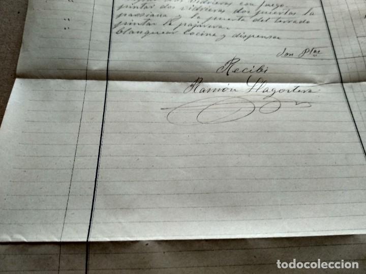 Facturas antiguas: TARRAGONA FACTURA 1908 - VER FOTOS INTERES HISTORIA FACTURA - RAMON LLAGOSTERA - PINTOR - Foto 6 - 195381100