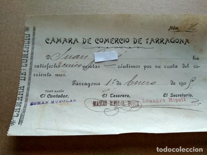 TARRAGONA FACTURA 1908 - VER FOTOS INTERES HISTORIA FACTURA - CAMARA COMERCIO TARRAGONA (Coleccionismo - Documentos - Facturas Antiguas)