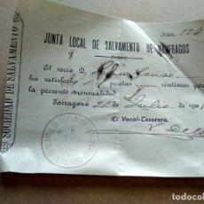 Facturas antiguas: TARRAGONA FACTURA 1908 - VER FOTOS INTERES HISTORIA FACTURA - JUNTA LOCAL SALVAMENTO NAUFRAGOS. Lote 195382725