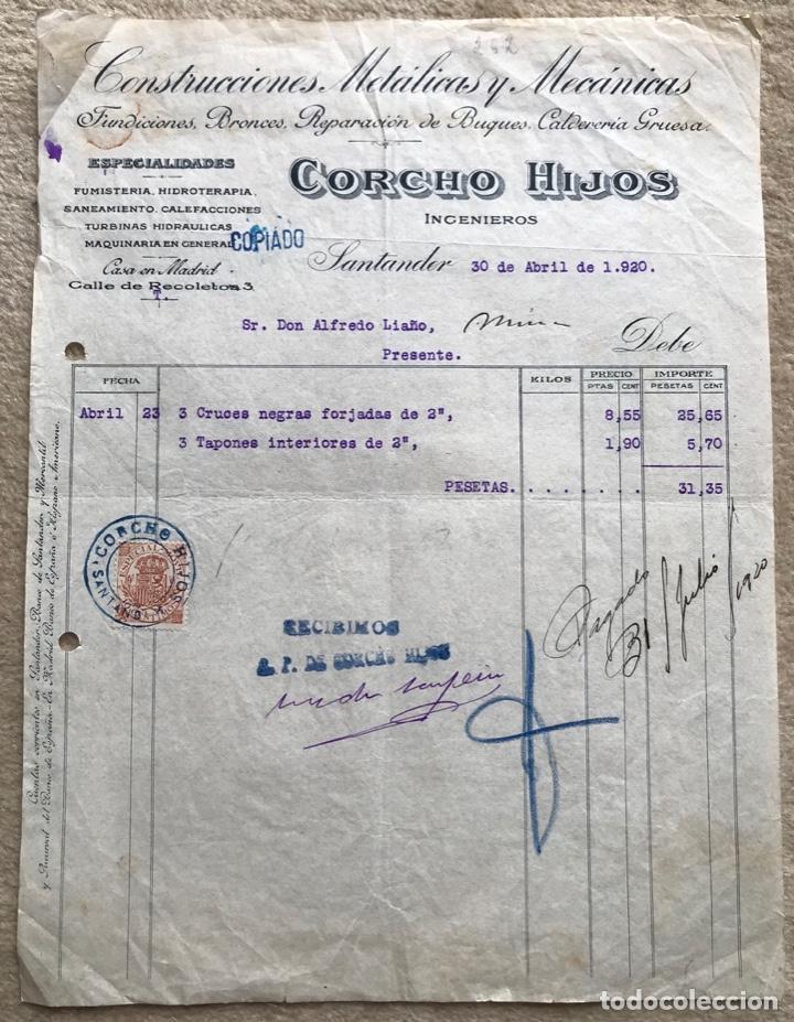 CONSTRUCCIONES METÁLICAS Y MECÁNICAS CORCHO HIJOS INGENIEROS - SANTANDER - AÑO 1920 (Coleccionismo - Documentos - Facturas Antiguas)