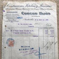 Facturas antiguas: CONSTRUCCIONES METÁLICAS Y MECÁNICAS CORCHO HIJOS INGENIEROS - SANTANDER - AÑO 1920. Lote 195388842