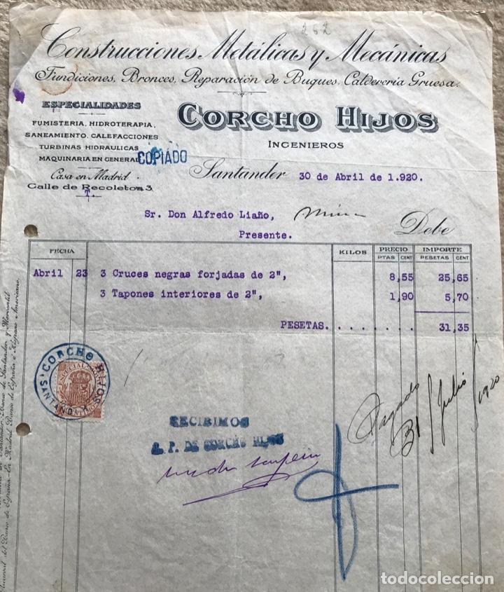 Facturas antiguas: Construcciones metálicas y mecánicas Corcho Hijos ingenieros - Santander - Año 1920 - Foto 2 - 195388842