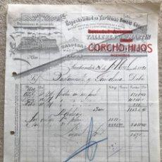 Facturas antiguas: TALLERES DE SAN MARTÍN - CORCHO HIJOS - ESPECIALIDAD EN TURBINAS, BOMBAS, GRÚAS - SANTANDER - 1920. Lote 195389013