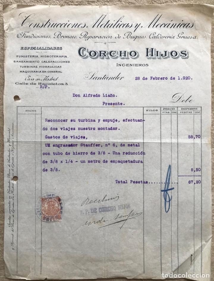 CONSTRUCCIONES METÁLICAS Y MECÁNICAS CORCHO HIJOS INGENIEROS - SANTANDER - FACTURA DE 1920 (Coleccionismo - Documentos - Facturas Antiguas)