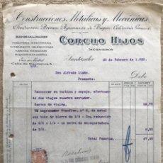 Facturas antiguas: CONSTRUCCIONES METÁLICAS Y MECÁNICAS CORCHO HIJOS INGENIEROS - SANTANDER - FACTURA DE 1920. Lote 195389133