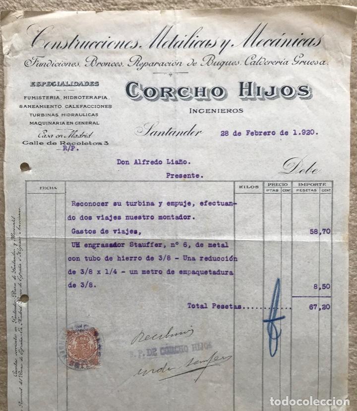 Facturas antiguas: Construcciones metálicas y mecánicas Corcho Hijos ingenieros - Santander - Factura de 1920 - Foto 2 - 195389133