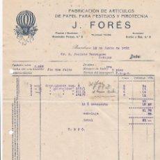 Facturas antiguas: FAACTURA. J. FORÉS. FABRICACIÓN DE ARTÍCULOS DE PAPEL PARA FESTEJOS Y PIROTECNIA. BARCELONA 1932. Lote 195440700