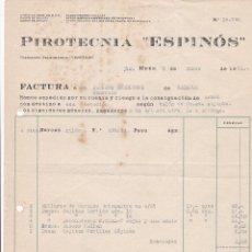 Facturas antiguas: FACTURA. PIROTECNIA ESPINÓS. REUS 1932. Lote 195440707
