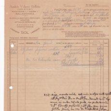 Facturas antiguas: FACTURA. ANDRÉS VELASCO BELLIDO. QUINCALLA, BISUTERÍA, PERFUMERÍA. SALAMANCA 1932. Lote 195440740