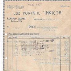 Facturas antiguas: FACTURA. LUZ PORTATIL INVICTA. BARCELONA 1923. Lote 195440743