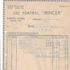 Facturas antiguas: FACTURA. LUZ PORTATIL INVICTA. BARCELONA 1923. Lote 195440750