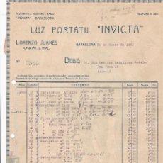 Facturas antiguas: FACTURA. LUZ PORTATIL INVICTA. BARCELONA 1923. Lote 195440777