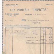 Facturas antiguas: FACTURA. LUZ PORTATIL INVICTA. BARCELONA 1923. Lote 195440785