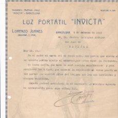 Facturas antiguas: FACTURA. LUZ PORTATIL INVICTA. BARCELONA 1923. Lote 195440788