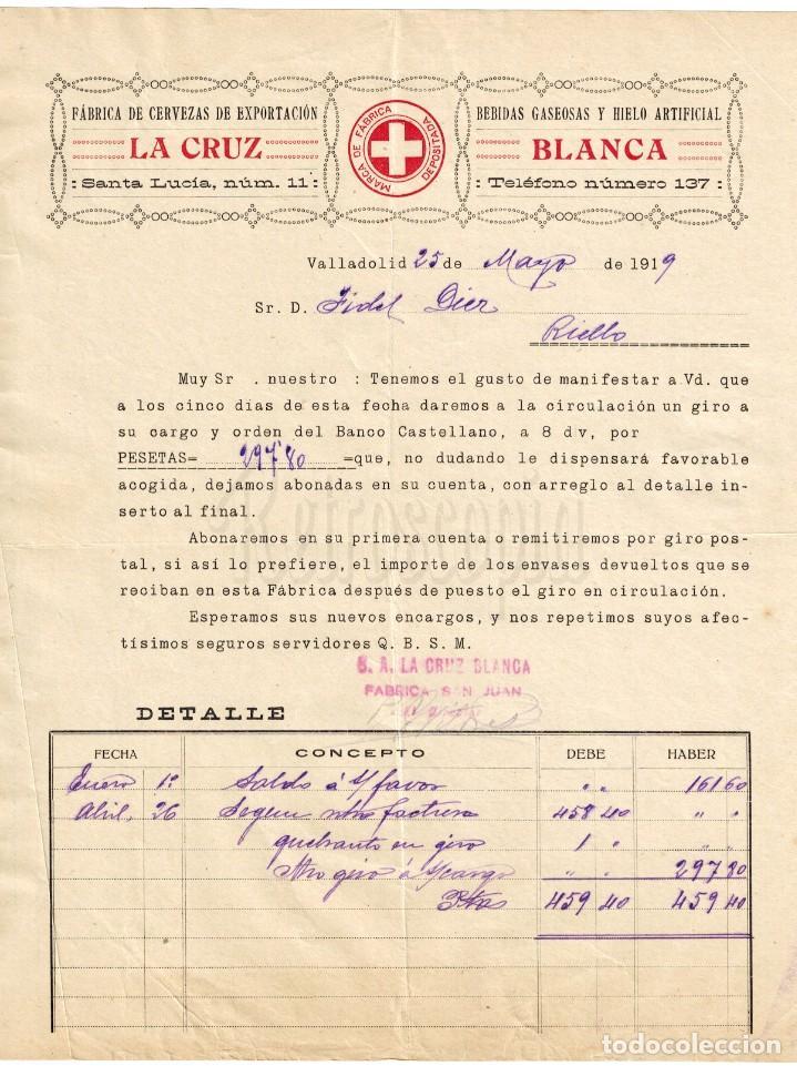 FACTURA FABRICA DE CERVEZAS CERVEZA DE SANTANDER. LA CRUZ BLANCA 1919 (Coleccionismo - Documentos - Facturas Antiguas)