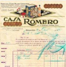 Factures anciennes: FACTURA CHOCOLATES CAFES CERA BUJIAS. CASA ROMERO NIETO. BENAVIDES LEON AÑO 1932. Lote 59593095